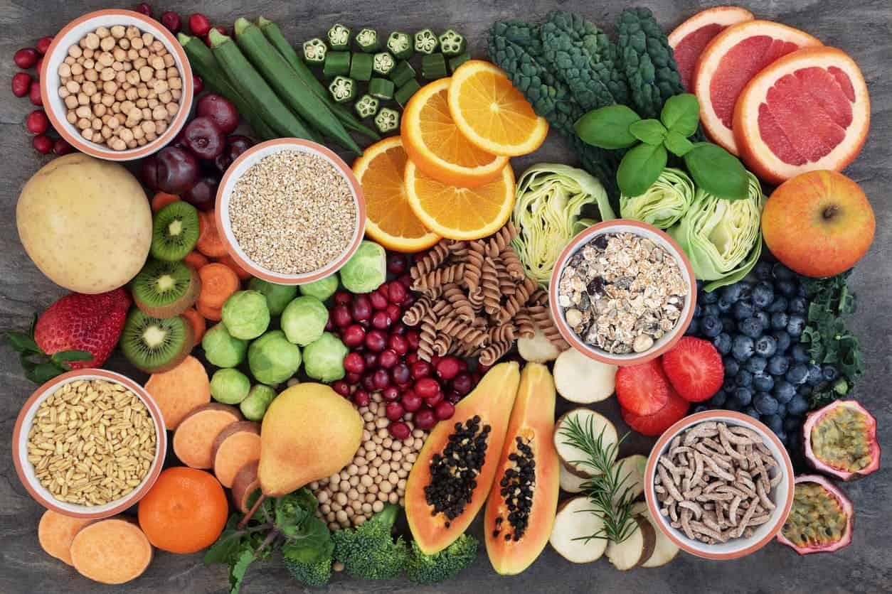 légumes, de fruits et de céréales complètes